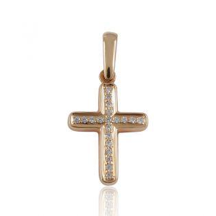 Крестик из золота с дорожкой фианитов «Злато»