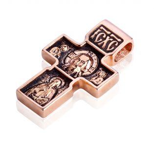 Золотой крест с чернением «Спас Нерукотворный»