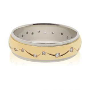 Обручальное кольцо с сапфирами из двух цветов золота «Provence»