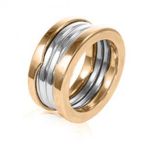 Обручальное широкое кольцо из комбинированного золота «Virginia»