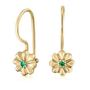 Серьги золотые с изумрудами для девочки  «Цветочки»
