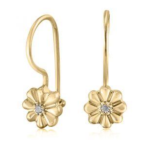 Серьги золотые с бриллиантами для девочки «Цветочки»