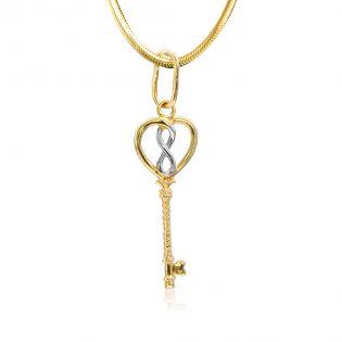 Золотой кулон «Ключ в бесконечность»