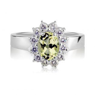 Золотое кольцо с бериллом и Swarovski «Королевская помолвка»