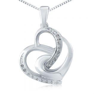 Кулон сердечко с бриллиантами «Переплетение сердец»