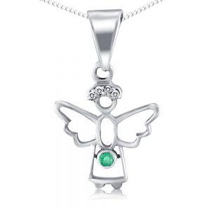 Кулон ангелок с изумрудом и бриллиантами «Gentle angel»
