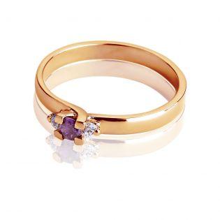 Женское кольцо с аметистом для помолвки «Королевский стиль»