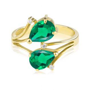 Золотое кольцо с гидроизумрудами «Небесное»