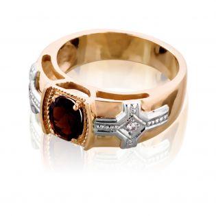Золотое мужское кольцо с раухтопазом «Королевская печать»
