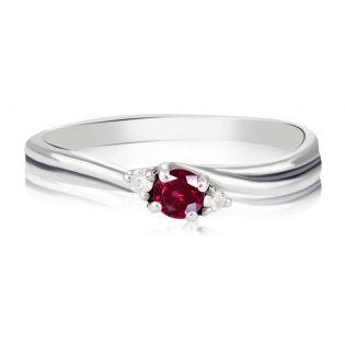 Золотое кольцо с рубином и бриллиантами для предложения «Эвери»