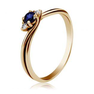Золотое кольцо с сапфиром и бриллиантами для предложения «Эвери»