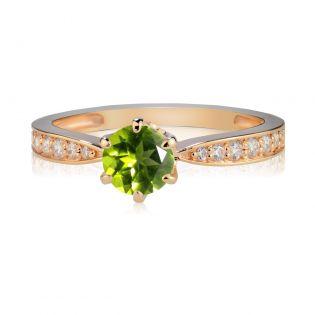 Золотое классическое кольцо с хризолитом «История любви»