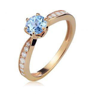 Золотое классическое кольцо с топазом «История любви»