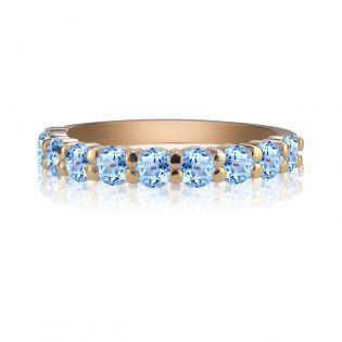 Золотое кольцо с дорожкой топазов «Восторг»