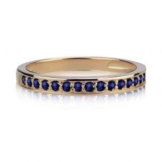 Золотое обручальное кольцо с дорожкой сапфиров «Верность»