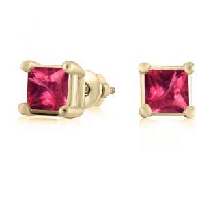 Серьги гвоздики золотые с рубином «Миражи»