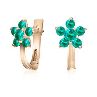 Небольшие сережки цветочки из золота с цветным цирконием «Незабудки»