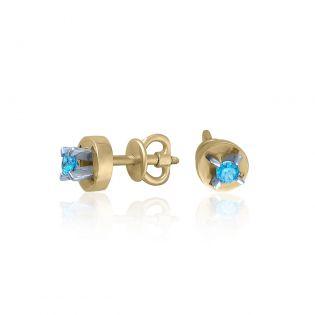 Золотые сережки гвоздики с топазами «Одри»