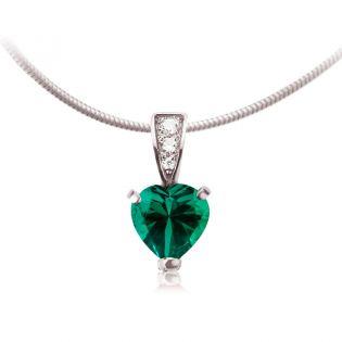 Кулон сердце с гидротермальным изумрудом «Loving Heart»