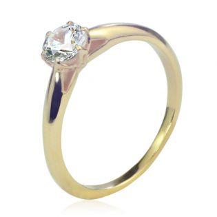 Золотое кольцо с белым топазом «Парижанка»