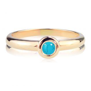 Золотое кольцо с натуральной бирюзой «Bali»