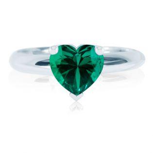 Золотое кольцо-сердце с гидротермальным изумрудом «Loving heart»