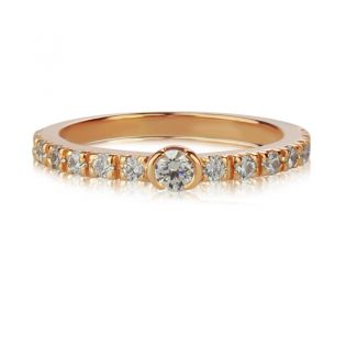 Золотое тонкое кольцо с бриллиантами «Megan»
