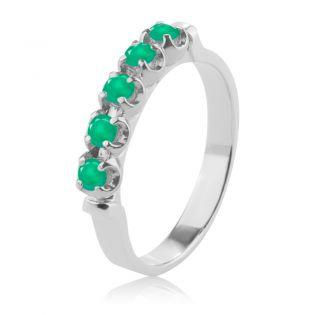 Золотое кольцо с дорожкой зеленого агата «Sunny»