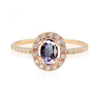 Кольцо золотое с ярким овальным аметистом «Twinkle»