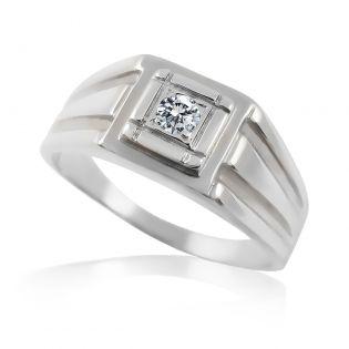 Перстень мужской с одним бриллиантом «Леонардо»