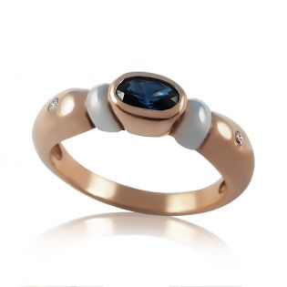 Золотое кольцо с сапфиром и бриллиантом «Озеро Виктории»