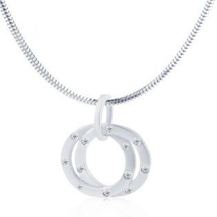 Кулон в виде золотых колец с бриллиантами 0,11 Ct «Триада»