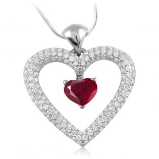 Золотой кулон-сердце с рубином «Love heart»