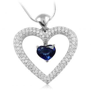 Кулон сердце с сапфиром «Love heart»