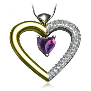 Золотая подвеска сердце с аметистом и цирконием «Loving heart»