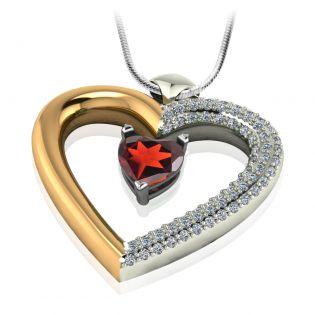 Золотой кулон-сердце с гранатом и фианитами «Loving heart»