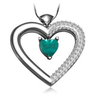 Золотой кулон-сердце с изумрудом и цирконием «Loving heart»
