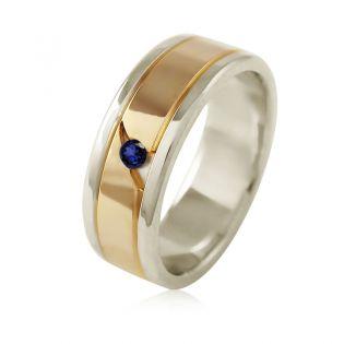 Золотое обручальное кольцо с сапфиром «Je t'aime»