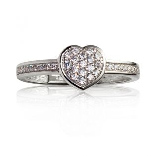 Помолвочное кольцо сердце c цирконием «Love u»