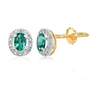 Серьги гвоздики с овальными зелеными топазами «Twinkle»