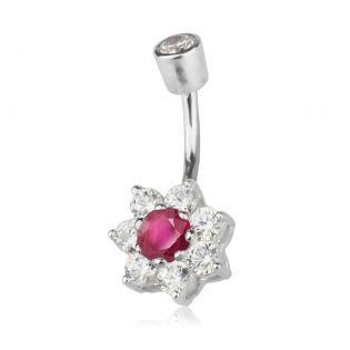 Серьга в пупок с рубином и кристаллами Swarovski «Belle fleur»