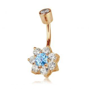 Серьга в пупок с топазом и кристаллами Swarovski «Belle fleur»