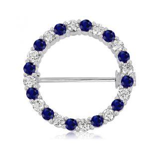 Золотая круглая брошь с синими и белыми сапфирами «Circle»