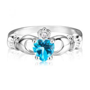 Кладдахское кольцо с топазовым сердцем «Gold Claddagh»