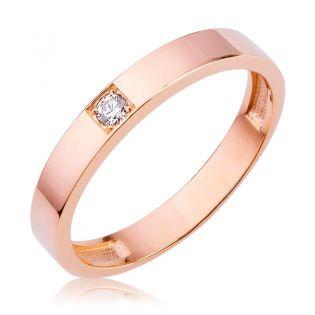 Обручальное кольцо американка с одним бриллиантом 0,05 Ct «Кайя»