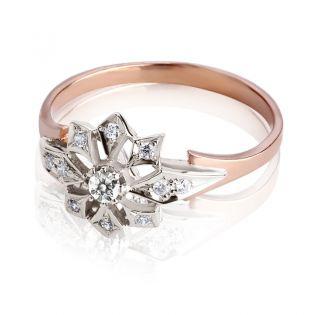 Золотое кольцо с бриллиантом «Сияние звезд»