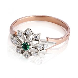 Золотое кольцо с изумрудом «Сияние звезд»