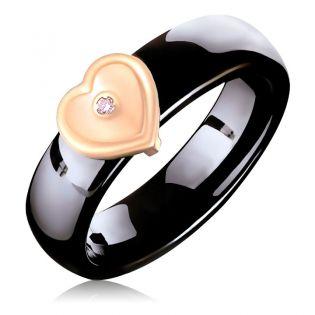Кольцо из керамики с золотой накладкой и бриллиантом «Тайна моего сердца»