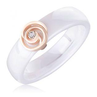 Керамическое кольцо с золотой вставкой и бриллиантом «Тайна»