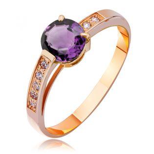 Золотое кольцо с аметистом «Вечная любовь»